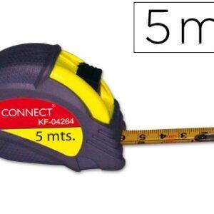 Flexometro Q-CONNECT de 5 mts. Con freno, antichoque, 19 mm anch