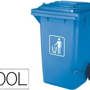Papelera contenedor con tapa azul, 100 litros