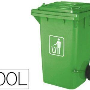 Papelera contenedor con tapa verde, 100 litros