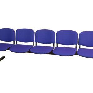 Bancada de 5 puestos tapizada, azul