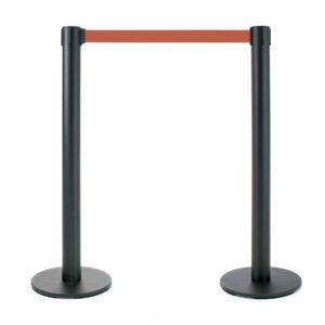 2 postes metálicos negro 95 cm. Cinta retráctil roja 20 cm