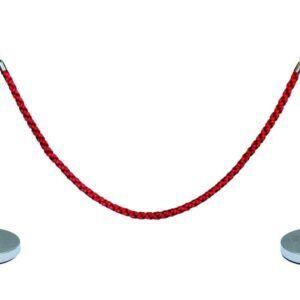 Set 2 postes + cordón, trenzado rojo de 28 x 95 cm. Terminal ace