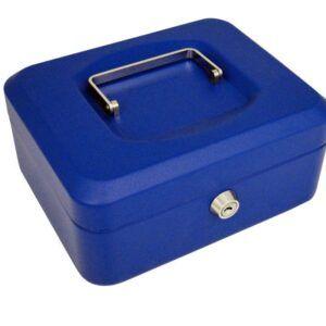 Caja de caudales Acero 20x16x9 cm Azul Cerradura con llave