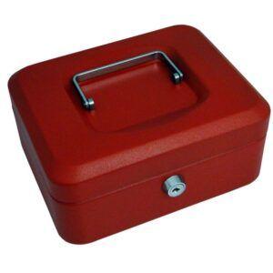 Caja de caudales Acero 20x16x9 cm Rojo Cerradura con llave