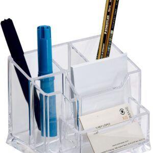 organizador con taco de papel, transparente