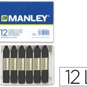Lapices cera Manley unicolor negro nº30, caja de 12 unidades