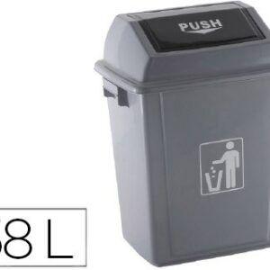Papelera contenedor Q-CONNECT plástico con tapa de balancin 58 litros gris