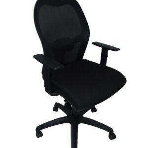 Silla Jorquera malla negra asiento similpiel negro, Con Traslak