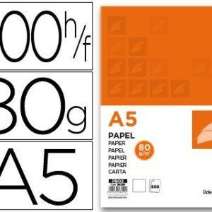 Papel Liderpapel A5 80g/m2 paquete de 500 blanco.