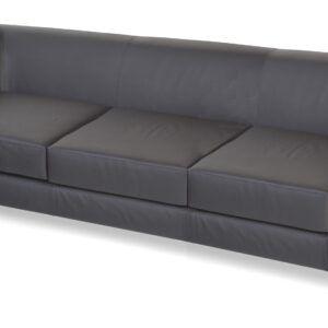 Sofá de 3 plazas tapizado en símil piel.