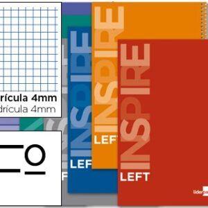 Cuaderno espiral liderpapel folio inspire, para zurdos