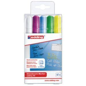 Pack 5 rotuladores para pizarra de cristal Edding 90