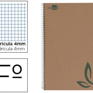 Cuaderno espiral cuarto ecouse tapa cartulina kraft 80h papel reciclado 60 gr cuadro 4mm.