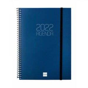 Agenda 2022 espiral Finocam OPAQUE E10 semana vista, azul, 15,5 x 21,2 cm