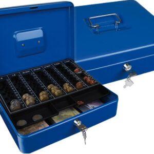 Caja caudales Q-connect 300 x 240 x 90 mm azul, con portamonedas.
