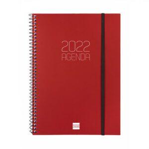 Agenda 2022 espiral Finocam OPAQUE E10 semana vista, roja, 15,5 x 21,2 cm