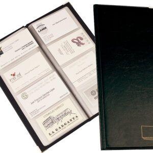 Tarjetero para tarjetas visita, negro, simil piel. Para 96 unidades. Tamaño 252 x 113 mm.