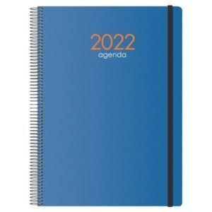 Agenda (2022) DOHE SYNCRO espiral, tapa pp, con goma 21x29 día/página. Azul